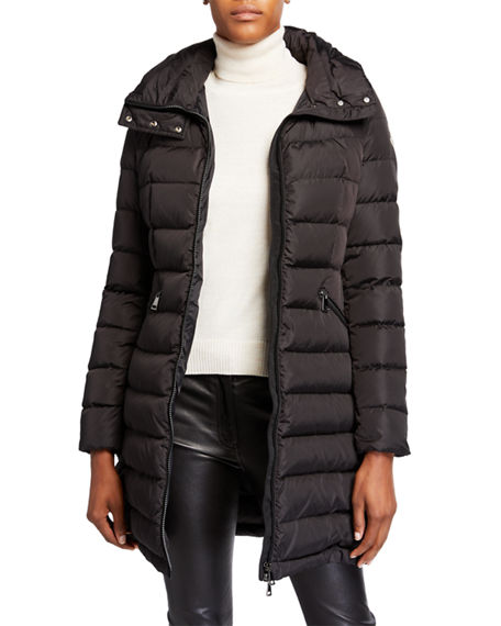 Moncler Flammette High-Neck Puffer Coat, Olive