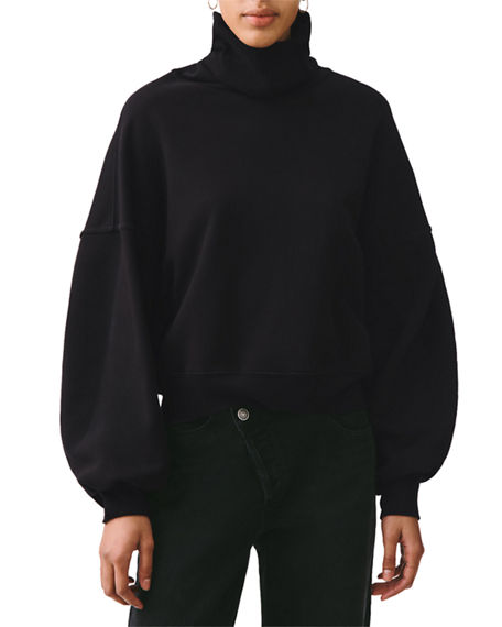 AGOLDE Balloon-Sleeve Turtleneck Cotton Sweatshirt