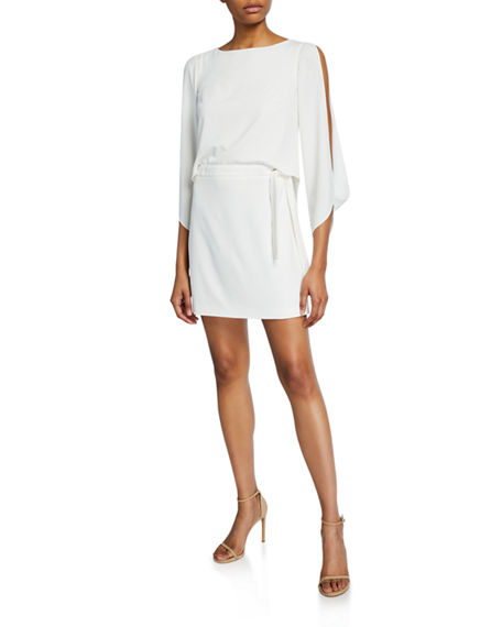 Halston SLIT-SLEEVE MINI CREPE DRESS