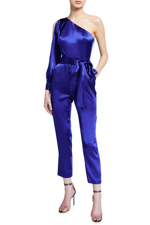 Aidan by Aidan Mattox One-Shoulder Liquid Satin Jumpsuit