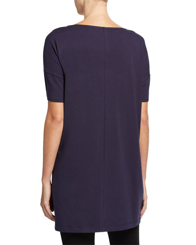 Eileen Fisher Plus Size Bateau-Neck Elbow-Sleeve Cotton Jersey Tunic