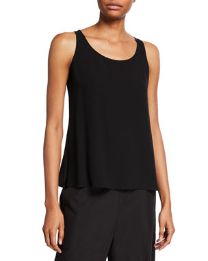 35a41e1266 Eileen Fisher Plus Size Silk Georgette Crepe Scoop-Neck Tank. Favorite. Quick  Look