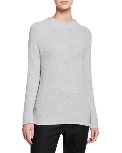 Petite Organic Cotton/Silk Funnel-Neck Sweater
