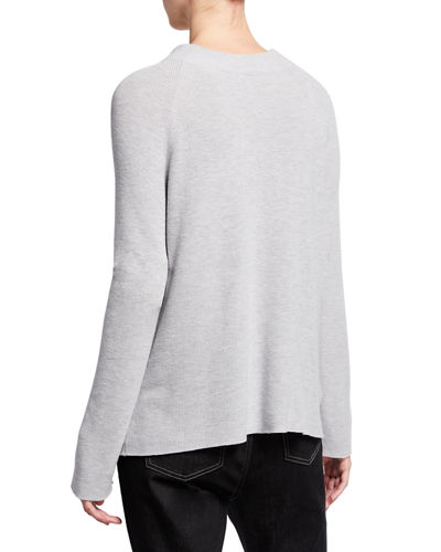 Eileen Fisher Plus Size Organic Cotton/Silk Funnel-Neck Sweater