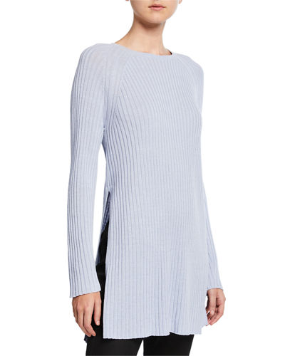 Ribbed Tunic Sweater with Side Slits