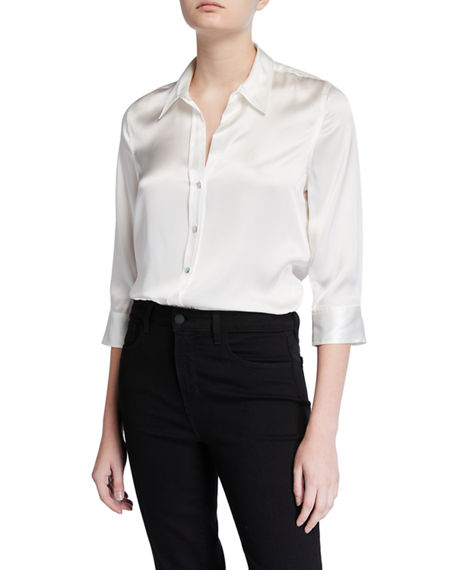 L'Agence Dani Silk Satin 3/4-Sleeve Button-Down Blouse