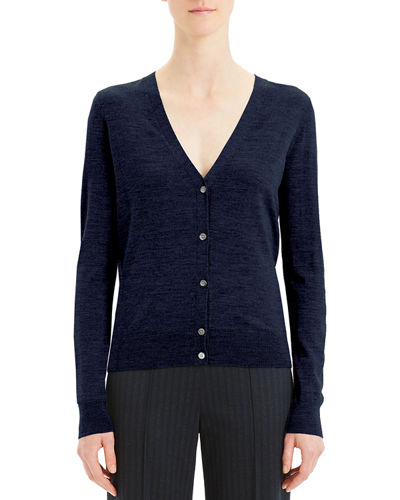 V-Neck Button-Front Regal Wool Cardigan