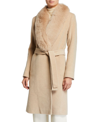Fox Fur-Trimmed Wool Wrap Coat