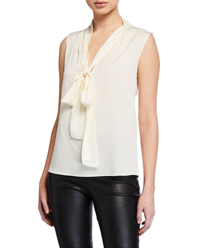 Core St. Silk Tie-Neck Sleeveless Top