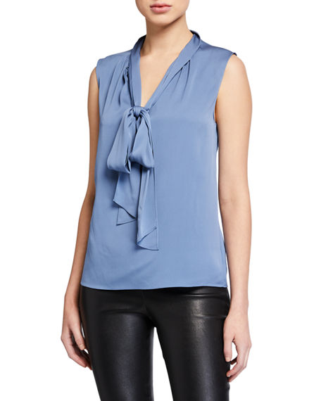 Theory Core St. Silk Tie-Neck Sleeveless Top