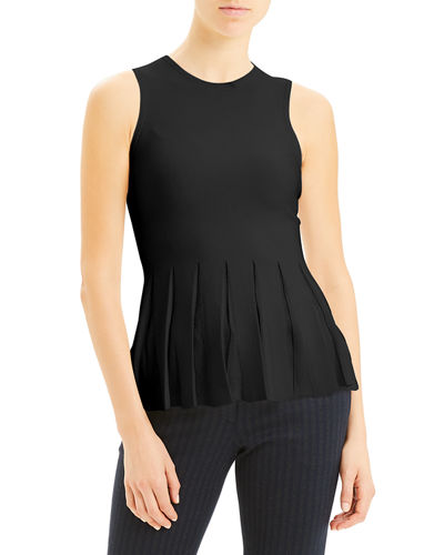 Pleated Prosecco Sleeveless Peplum Top