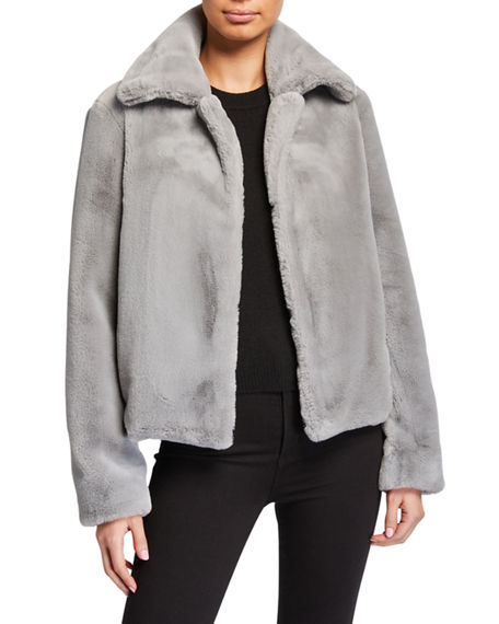 Theory Luxe Faux-Fur Portrait-Neck Jacket