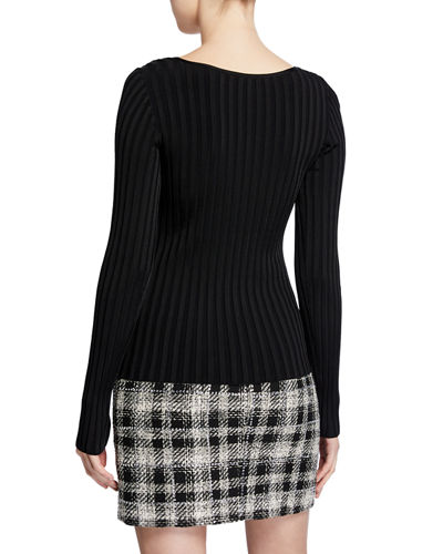 Veronica Beard Clara Square-Neck Ribbed Pullover Sweater