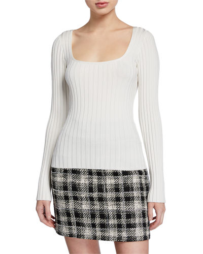 Clara Square-Neck Ribbed Pullover Sweater