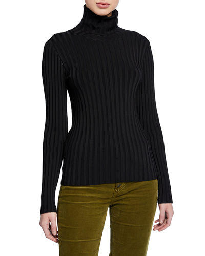 Nellie Ribbed Turtleneck Pullover Sweater