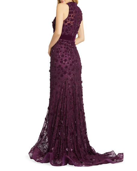 Image 2 of 3: Mac Duggal Mock-Neck Sleeveless Floral Applique Lace Gown