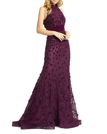 Image 1 of 3: Mac Duggal Mock-Neck Sleeveless Floral Applique Lace Gown