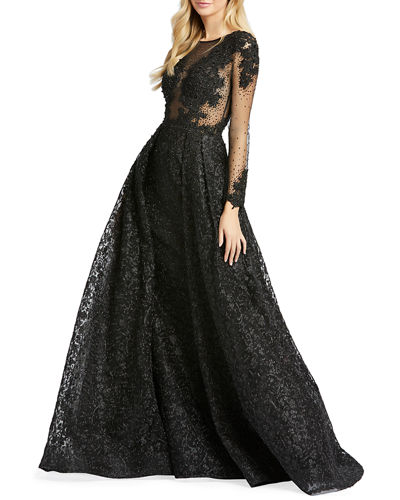 Long-Sleeve Illusion Ball Gown