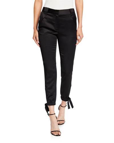 Slim Fit Tie-Cuff Satin Ankle Pants