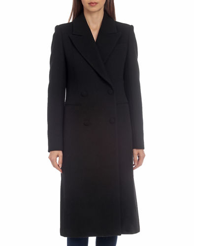 Long Double-Breasted Wool Top Coat