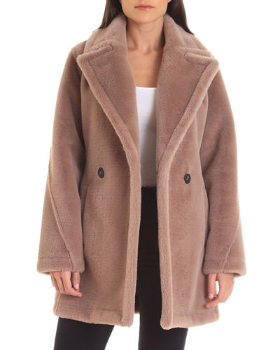 Bonded Faux-Fur Pea Coat