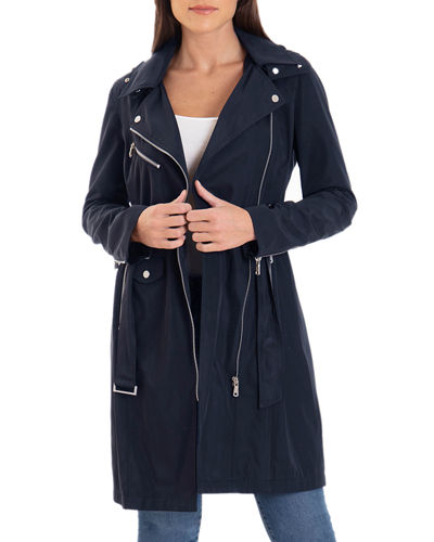 Moto Water-Resistant Trench Coat