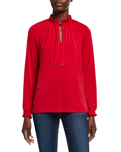 Shirred High-Neck Long-Sleeve Top