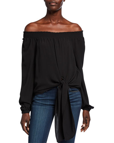 Tie-Front Off-the-Shoulder Long-Sleeve Top