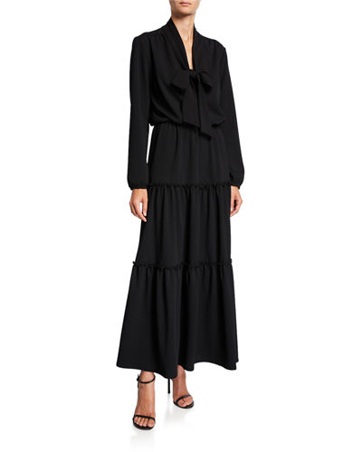 Bow Tie Long-Sleeve Tiered Long Tissue Crepe Dress
