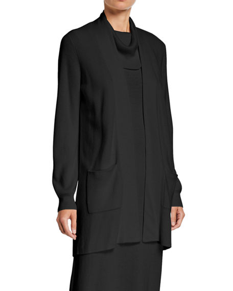 Joan Vass Plus Size Open-Front Ribbed Cardigan with Patch Pockets
