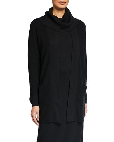 Open-Front Ribbed Cardigan with Patch Pockets