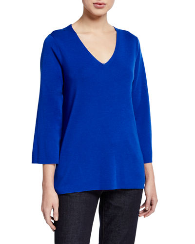 Petite V-Neck 3/4-Sleeve Merino Wool Top