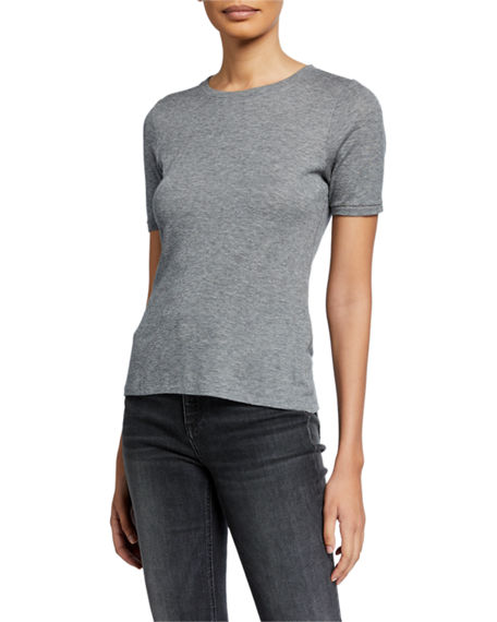 Rag & Bone Kari Crewneck Short-Sleeve Slim Rib Tee