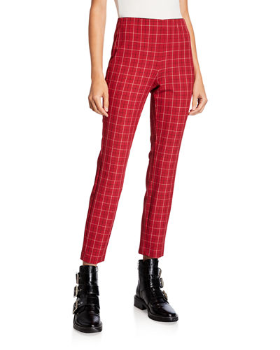 Simone Cropped Check Skinny Pants