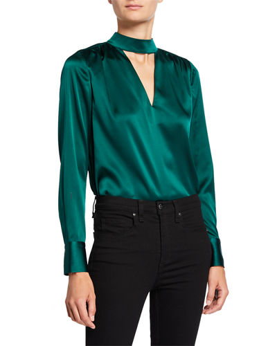 Wade Tie-Neck Silk Top