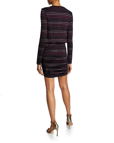 Veronica Beard Marcy Ruched Long-Sleeve Mini Dress