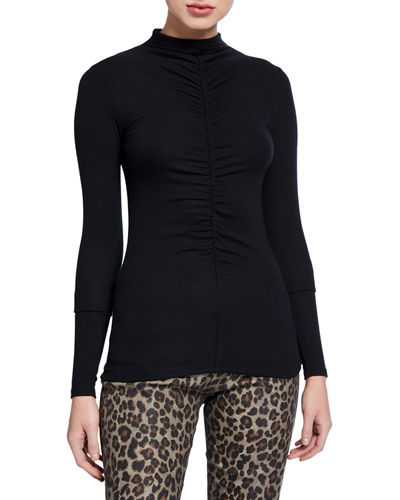 Veronica Beard Theresa Ruched Turtleneck Top