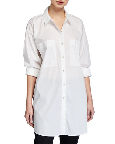 Eileen Fisher Long-Sleeve Cotton Lawn Shirt
