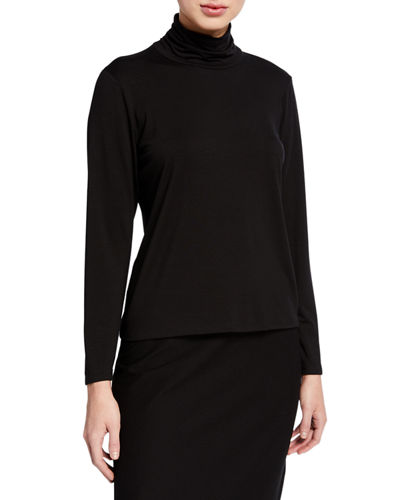 Eileen Fisher Long-Sleeve Scrunch Turtleneck Top