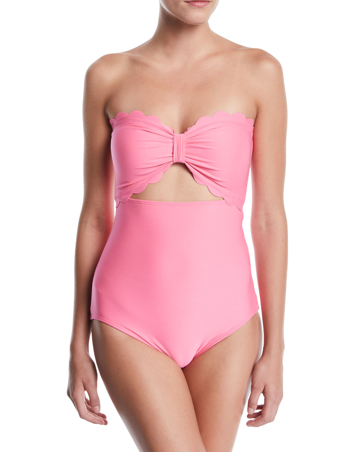 Scalloped Cutout Bandeau One Piece Swimsuit by Kate Spade New York