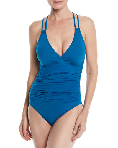 Island Underwire X-Back Solid One-Piece Swimsuit