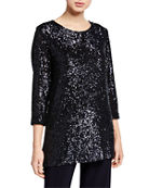 Caroline Rose Plus Size Sequin 3/4-Sleeve Tunic