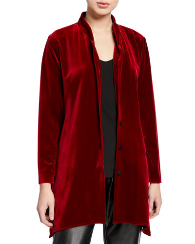 Petite Button-Down Stretch Velvet Swing Shirt with Mandarin Collar