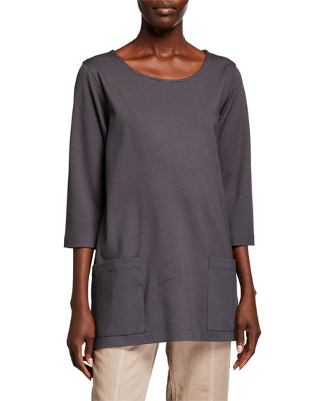 Caroline Rose Petite Scoop-Neck 3/4-Sleeve Lux Ponte Pocket Tunic