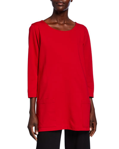 Caroline Rose Plus Size Scoop-Neck 3/4-Sleeve Lux Ponte Pocket Tunic