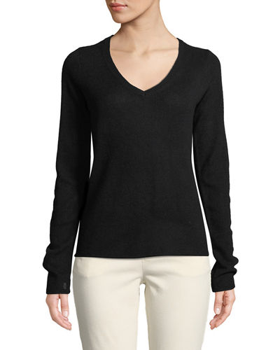 Cashmere V-Neck Long-Sleeve Sweater
