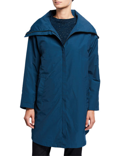 High-Collar Zip-Front Organic Cotton/Nylon Coat