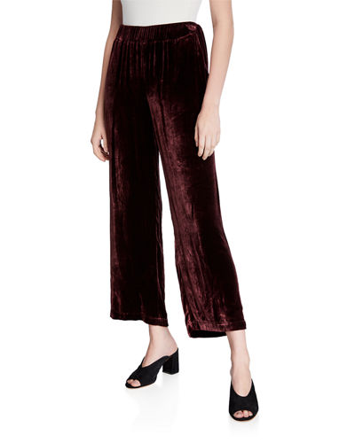 Velvet Wide-Leg Ankle Pants