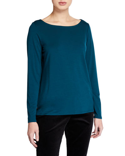 Plus Size Slim Bateau-Neck Long-Sleeve Top