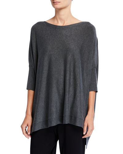 Bateau-Neck 3/4-Sleeve Cozy Top